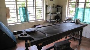 Sala de tratamientos en hospital ayurvédico de Vallamkulam
